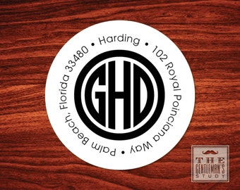 Circle Monogram Address Labels