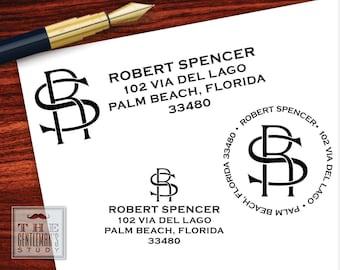 Varsity Monogram Pre-Inked Address Stamp