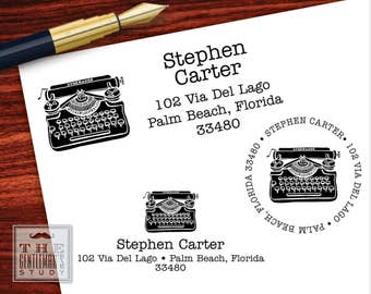 Vintage Typewriter Pre-Inked Address Stamp