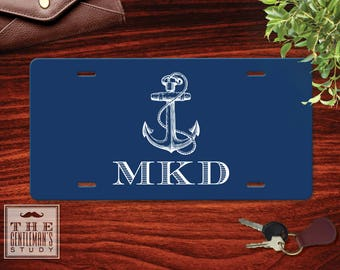 Anchor Monogrammed License Plate