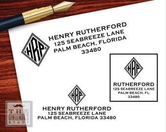 Diamond Monogram Pre-Inked Address Stamp