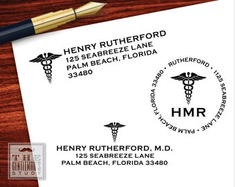 Caduceus Pre-Inked Address Stamp