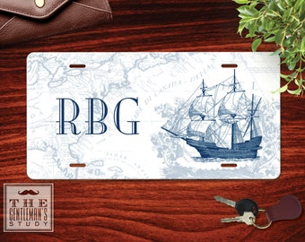 Clipper Ship Monogrammed License Plate