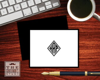 Diamond Monogram Folded Note Cards