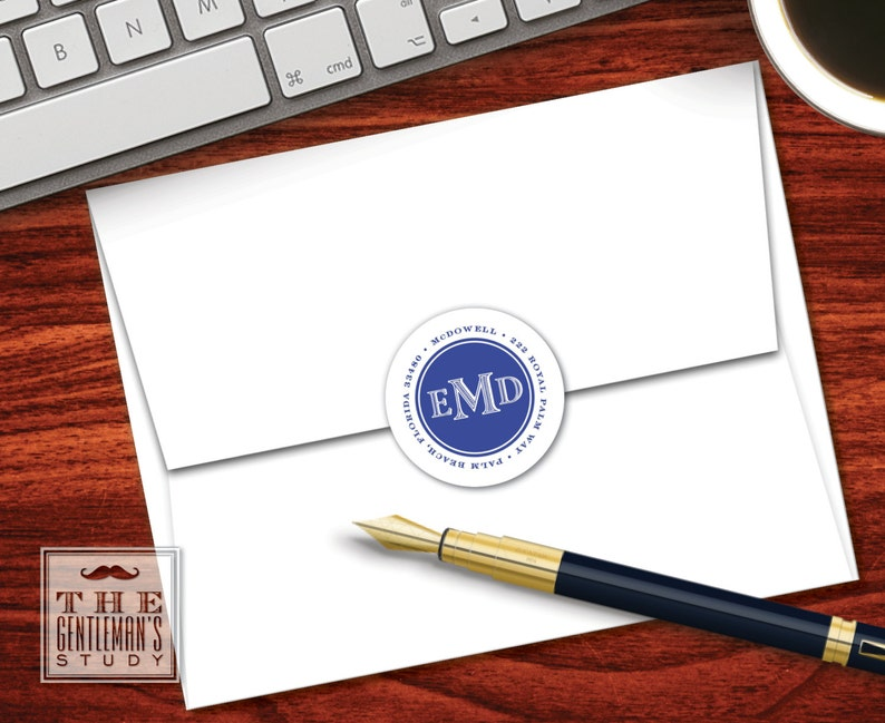 Colonial Address Labels Round 1.5 Circle Stickers Personalized Masculine Custom Envelope Seals Men/'s Monogram Return Address Stickers