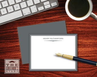 Gramercy Flat Note Cards - Personalized Stationery for Men - Masculine Monogram Stationary - Thank You Note - Correspondence Card for Man