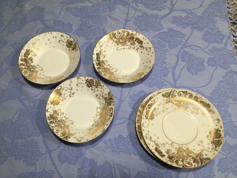 Limoges Elite vintage Gold and White bowls and saucers