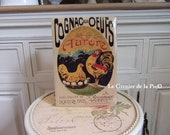 advertising plate in metal alcohol COGNAC at THE OEUFS AURORE rooster decoration hen hen retro vintage French 20x15cm French brandy tin sign