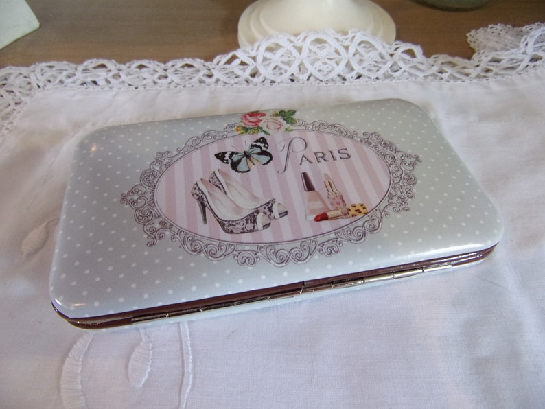 wallet stiff cardholder women style shabby chic romantic flower pink butterfly and shoes 14x9cm purse card holder