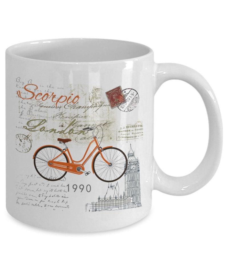 Romantic London SCORPIO BICYCLE White Coffee Mug Astrology Sign October  November Birthday Ideas Horoscope
