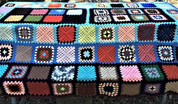 Vintage Beautiful Woven Yarn Multi Colored Blanket Handmade