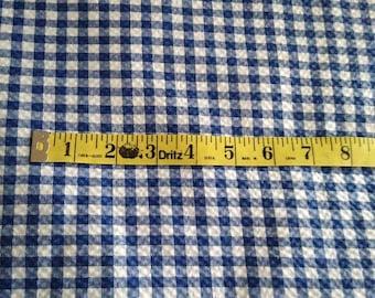 """navy blue seersucker fabric - printed gingham plaid design - 5yd + 30"""" in length"""