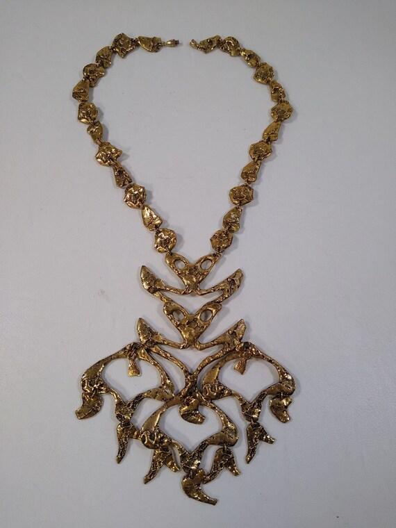 vintage modernist brutalist necklace