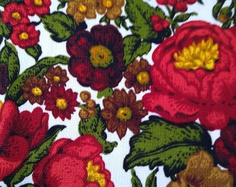 vintage MCM drapery or upholstery fabric - large floral in red, brown and green