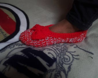 Slippers - hooked mocassins, handmade - red and grey