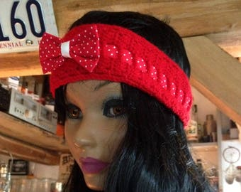 headband knitted - red
