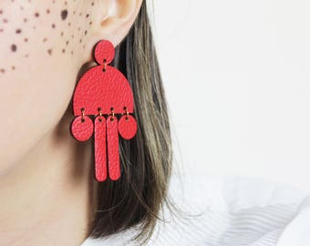 Red leather earrings, Leather earrings, Statement earrings, Long earrings, Red earrings, Minimalist earrings, Big earrings,  Gift for her