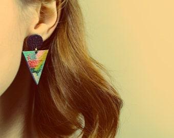 Triangle Earrings • Geometric Earrings • Leather Handpainted Earrings • Statement Earrings • Geometric Jewellery • Colorful Earrings • Uk