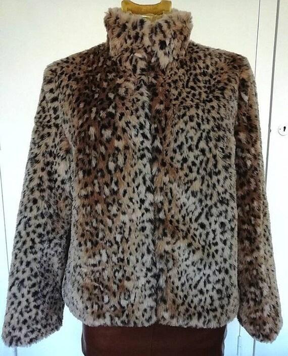 Vintage, Short jacket, fake fur leopard, 3 Swiss,
