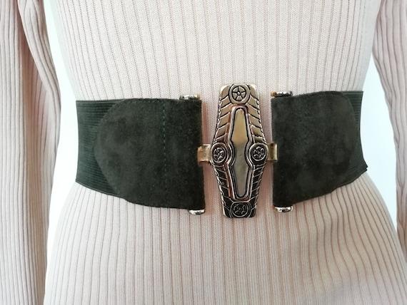 Eighties khaki belt and gold metal