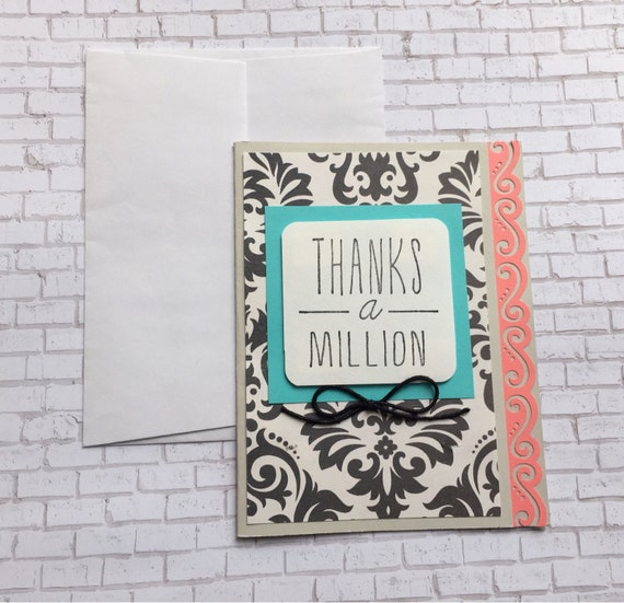 Thank You Card Thanks Card Custom Thank You Cards Handmade Etsy