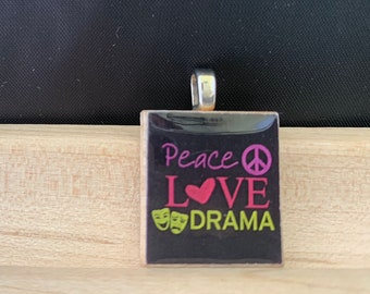 Scrabble Tile Necklace Game Piece Jewelry Christmas Gift For Her Stocking Stuffer Teen Girl Peace Love Drama Theater Lover