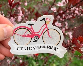 Enjoy Your Ride Vinyl Sticker, Basket Decal, Bike Accessories, Water Bottle Label