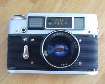 Vintage Soviet Rangefinder Camera FED 4   with  Industar 61 Lens in Original Leather Case from 60's. Home Decor Item
