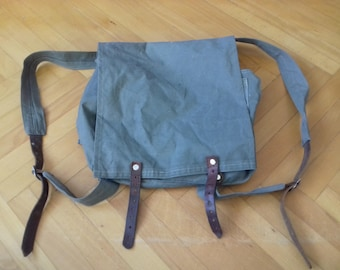 Vintage military light canvas backpack with leather parts-Yugoslavia 80 s 068086357b
