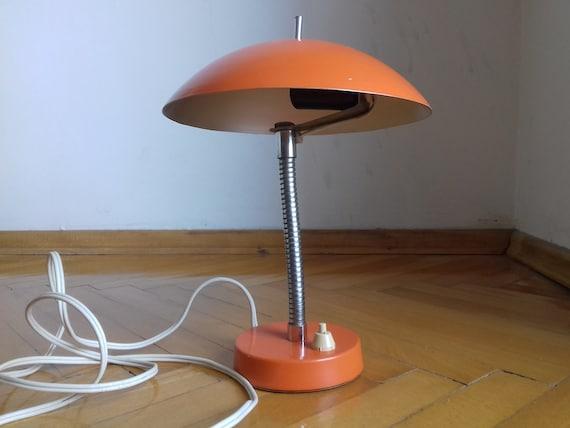 Belle Lampe Champignon Vintage Lampe De Table Orange Etsy