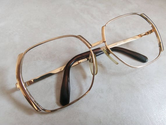 7d40a7ce0a4 Vintage SILHOUETTE Eyewear Frames mod. 434 103  Beautiful square Golden  chrome Glasses made in Austria-80 s