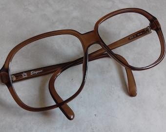 Vintage Optyl Elegance Glasses Frames mod. 8779 10- Retro Ovorsize glasses frames from 80's in transparent brown color