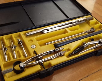 Vintage Soviet Drafting Set- НЧК-12-Т-02 made in 70's USSR- Collectible Old School supplies