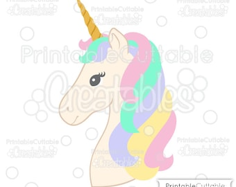 Unicorn Head SVG, DXF Cut File & Clipart E350 - Includes Limited Commercial Use!