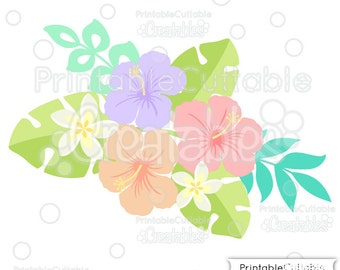 Tropical Plumeria 'n' Hibiscus Flowers SVG Cutting Files & Clipart E167 - Includes Limited Commercial Use!