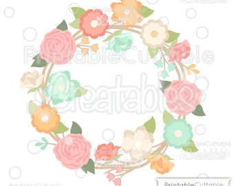 Spring Flower Wreath SVG Cut File & Clipart E239 - Includes Limited Commercial Use!