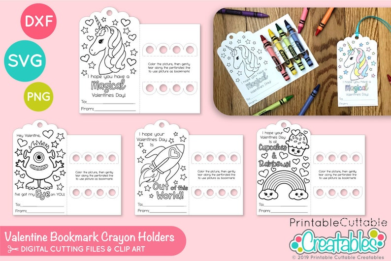 Set of 4 Valentine's Coloring Card Crayon Holder SVG Files D012 - SVG DXF  files for Silhouette + Cricut - Includes Limited Commercial Use!