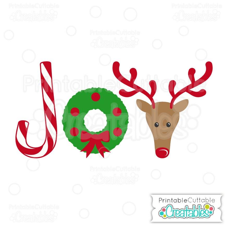JOY Christmas WordArt SVG Cut File & Clipart Includes | Etsy