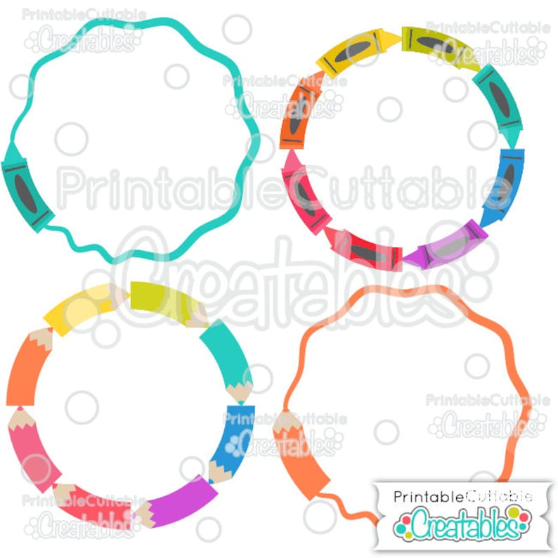 Crayons, Pencils School Circle Monogram Frames SVG Cut Files & Clipart B017  - Includes Limited Commercial Use!