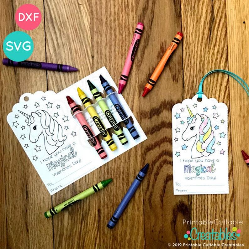 set of 4 valentine's coloring card crayon holder svg files