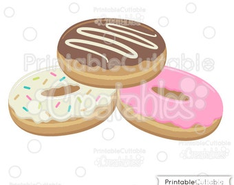 Donut SVG Cut Files & Doughnut Clipart E141 - Includes Limited Commercial Use!