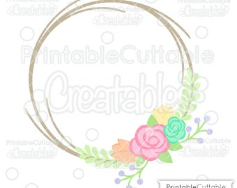 Flower Wreath Monogram Frame SVG File & Clipart B012 - Cut File for Cricut, Silhouette Cameo - Includes Limited Commercial Use!