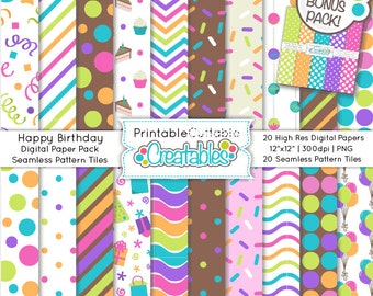 Happy Birthday Seamless Patterns & Digital Paper Pack - Includes Limited Commercial Use + FREE BONUS Papers!