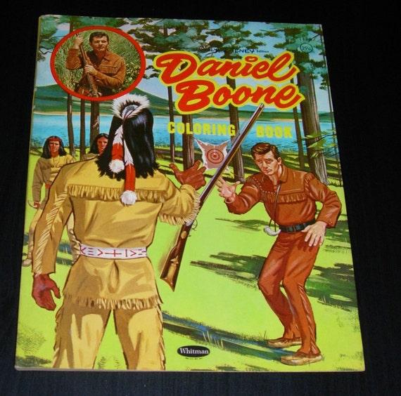 Disney Coloring Book Daniel Boone Vintage 1961 Excellent Etsy