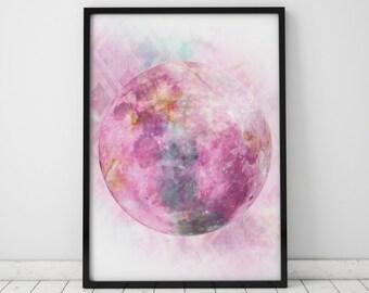 Full Moon Print Pink Wall Art Moon Print Big Poster Large Prints Pink Print Big Prints Pink Art Pink Moon Pink Nursery Spiritual