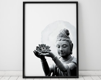 Black And White Art Buddha Wall Art Black And White Print Buddha Art Black And White Wall Art Black And White Decor Meditation Room