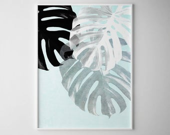Tropical Leaf Print Palm Leaf Botanical Prints Black And White Monstera Deliciosa Monstera Leaf Print Black And White Print Wall Art