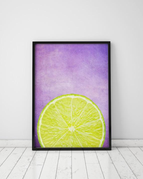 Lemon Print Purple Kitchen Decor Lemon Decor Lemon Art Kitchen | Etsy
