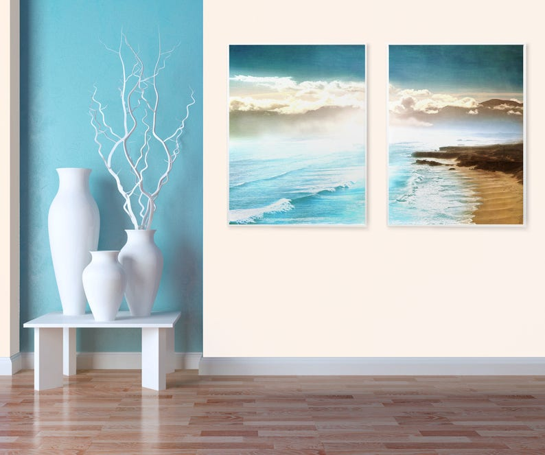 set of 2 prints beach house wall art set prints set of prints etsy rh etsy com beach house wall art ideas beach cottage wall decor ideas