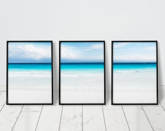 Beach Art Print Beach Print Set Of 3 Prints Beach Decor Beach Photography Prints Ocean Wall Art Turquoise Wall Art Turquoise Water Print